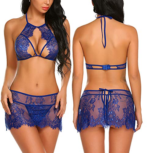 - Avidlove Women Three Piece Lingerie Set Lace Bra Skirt and Thong Sexy Nightwear Blue X-Large