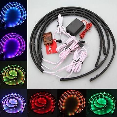 YaeKoo 7 Color 4pcs LED Strip Under Car Tube underglow Underbody System Neon Lights Kit (90cmX60cm)
