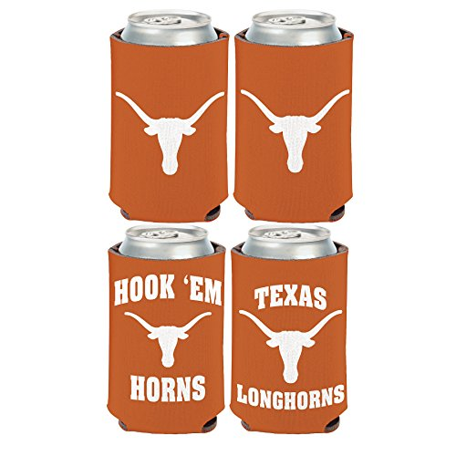 (WinCraft NCAA University of Texas Longhorns 2 Pack 12 oz. 2-Sided Can Coolers )