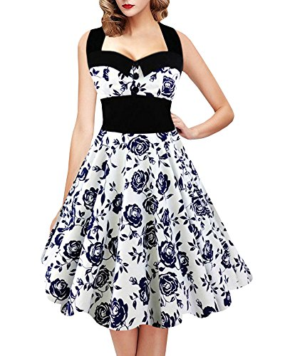 Geckatte Women's Vintage Skull Print Halter 1950s Retro Cocktail Dress Plus Size Floral Print Dresses