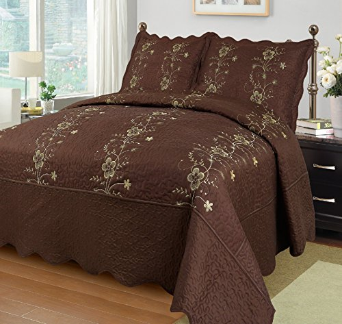 MarCielo 3-Piece Fully Quilted Embroidery Quilts Bedspread Bed Coverlets Cover Set, King Size, Brown, Dasiy (King Quilt Brown)