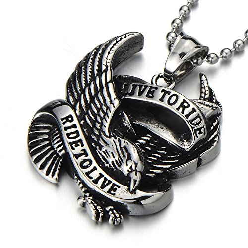 Ride Eagle (NEW Mens Eagle Live to Ride Pendant Necklace Stainless Steel Silver Black with 23.4 in Ball Chain)