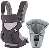 Ergobaby Bundle - 2 Items: Cool Carbon Grey All Carry Position 360 Baby Carrier and Infant Insert Cool Grey