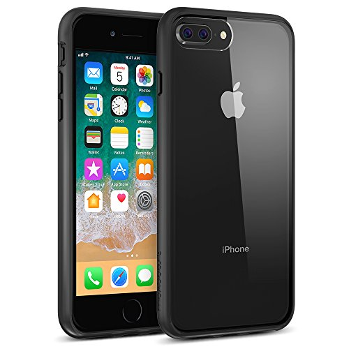 Maxboost HyperPro iPhone 8 Plus Case/iPhone 7 Plus Case [GXD-Gel Drop Protection] Heavy Duty Hybrid Cover Apple iPhone 8 Plus,7 Plus,6s Plus,6 Plus Enhanced Grip TPU Cushion/PC Back- Jet Black/Clear