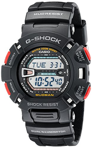 Electro Luminescent Analog - Casio Men's G-Shock G9000-1 Black Resin Sport Watch