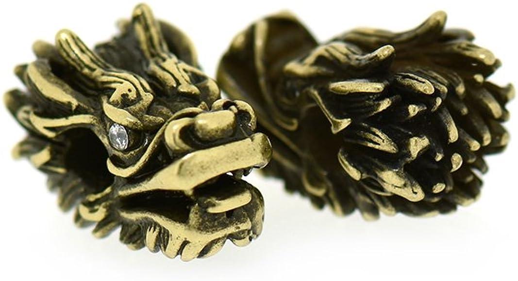 1x Black Brown Leather Antique Silver Bronze Dragon Head Charms Punk Bracelet