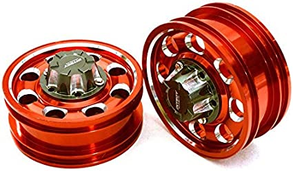 Integy RC Model Hop-ups C27021RED Billet Machined Alloy Front Wheel for Tamiya 1/14 Scale Tractor Trucks