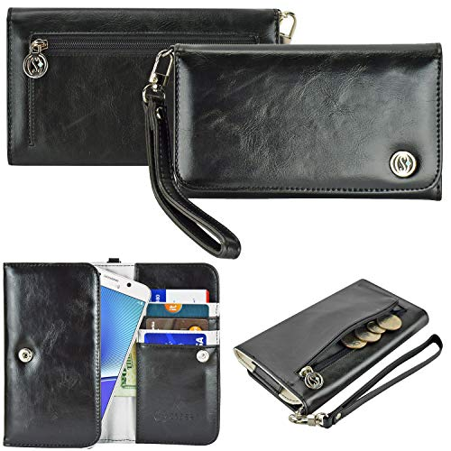 Case+Stylus PU Leather Purse/Clutch/Pouch Fits Apple iPhone Samsung LG Motorola HTC ZTE Universal Women's Cute Wristlet Strap Flip Case Wallet - Black Medium. Fits The Following Models: (Google Phone Faceplate)