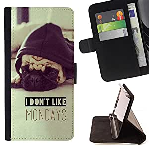 I Don'T Like Mondays Pug Sepia Dog - Painting Art Smile Face Style Design PU Leather Flip Stand Case Cover FOR LG G3 @ The Smurfs