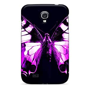 Hot Purple Butterfly First Grade Tpu Phone Case For Galaxy S4 Case Cover