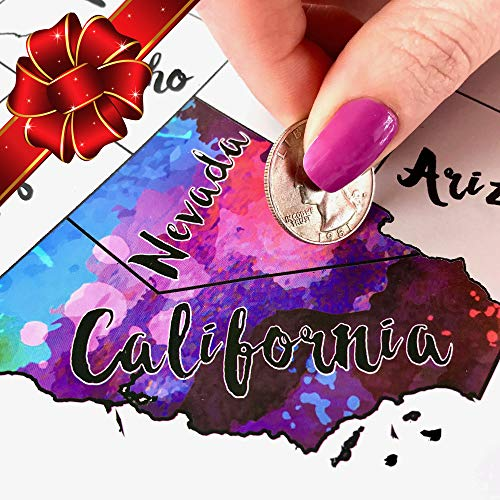 (Scratch Off Map USA - Scratch The Silver Foil Of The United States & Reveal Beautiful Watercolor - By Inevitable Imports)