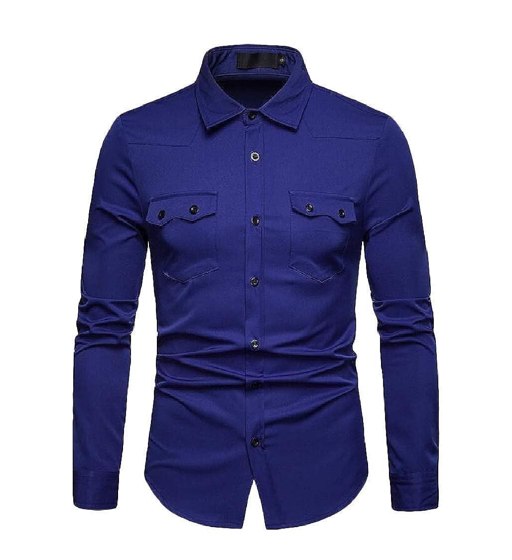 Pluszing Mens Lapel Collar All-Match Long-Sleeve Solid Button-Down Shirt