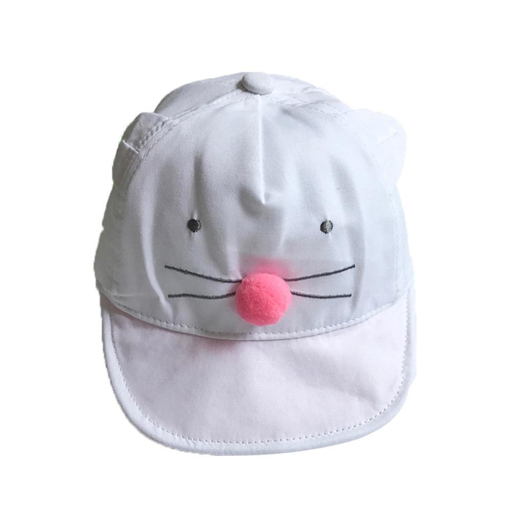 Cute Baby Cartoon Hat Kids Baseball Cap Infant Boy Girl Soft Caps Sun Hat (White)