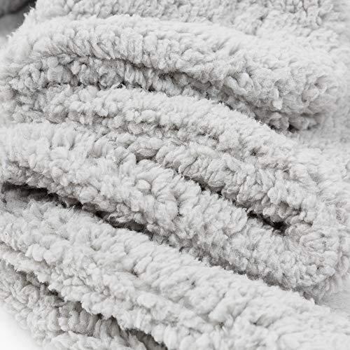 Allisandro [Upgrade Double Layer] Pet Premium Throw Blanket for Dog Cat Puppy Kitten Super Soft Fleece Velvet Four Color Three Size 39'' X 31'' Light Grey by Allisandro (Image #3)