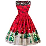 Women Dress, Gillberry Women's Vintage Christmas O-Neck Printed Party Retro A-Line Swing Dress
