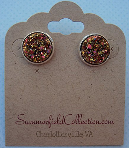 silver-tone-stud-earrings-12mm-gold-and-pink-faux-druzy-stone