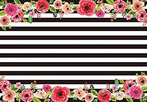 Allenjoy 10x6.5ft Black and White Stripe Backdrop backdrops Watercolor Pink Flower Banner Birthday Party Wedding Decoration Bridal Shower Photo Studio Booth Background -