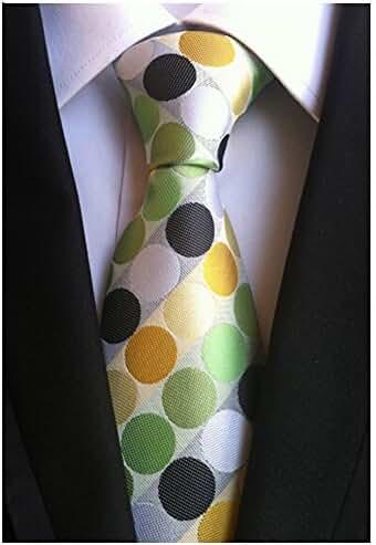 Allbebe Men's Classic Green Jacquard Woven Silk Tie Microfiber Formal Necktie