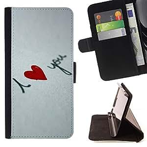 For Sony Xperia Z5 Compact Z5 Mini (Not for Normal Z5) Case , Amo tu corazón- la tarjeta de Crédito Slots PU Funda de cuero Monedero caso cubierta de piel