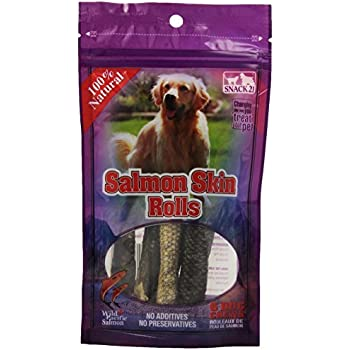 Snack 21 6-Pack Salmon Skin Rolls for Dogs