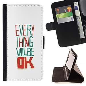 BullDog Case - FOR/Samsung Galaxy S6 / - / everything will be ok white happy /- Monedero de cuero de la PU Llevar cubierta de la caja con el ID Credit Card Slots Flip funda de cuer