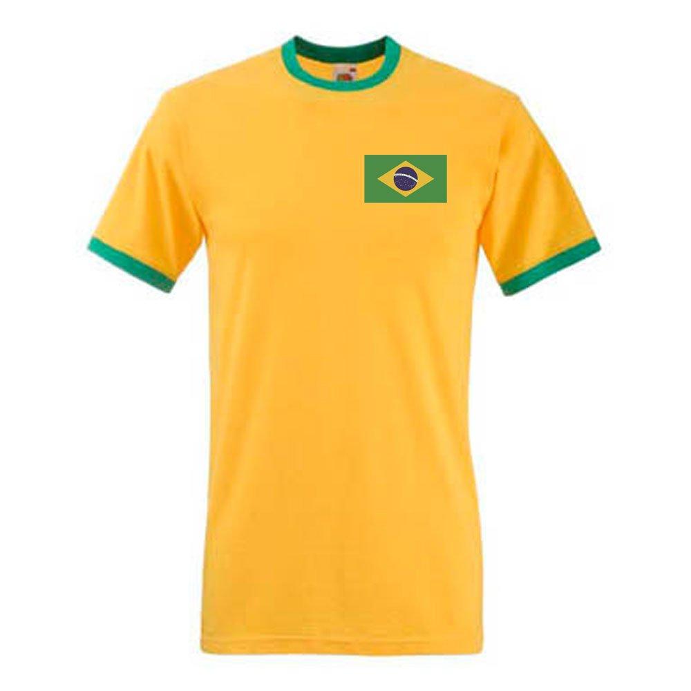 0a45652de13 Amazon.com  Gildan Pele Brazil Ringer Tee (yellow)  Sports   Outdoors