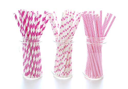 Hot Pink Straws (75 Pack) - Bachelorette Party Straws, Princess Girl Birthday Party Straws, Girls Night Out Party (Girls Party Place)