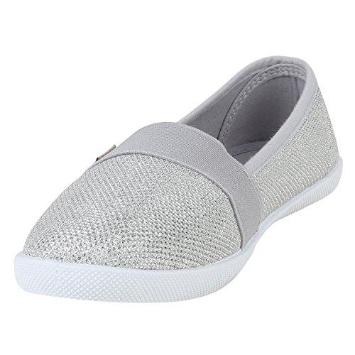 Stiefelparadies Bequeme Damen Slipper Slip-Ons Sportliche Schuhe Flats Stoffschuhe Prints Glitzer Freizeitschuhe Flandell Silber Autol