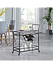 FirsTime & Co. Black Francesca Bar Cart, American Designed, Black, 30 x 13 x 32.5 inches, Black & Glass (70285)