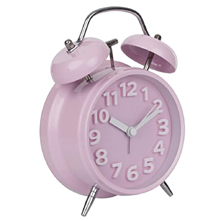 Hello Dream Analog Baby Pink Vintage 6.5 Inch Twin Bell Table Clock