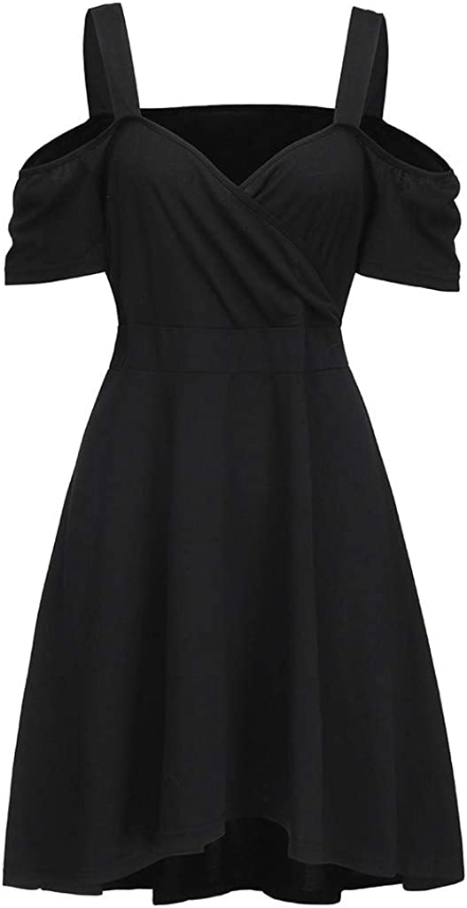 WOZOW Womens Plus Size Off Shoulder Mini Dress for Cocktail Evening Party