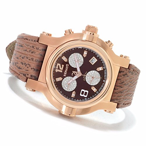 Renato Mens Beast Diamond Accented Quartz Chronograph Sharkskin Strap Watch SR-BROD-SAB-G10