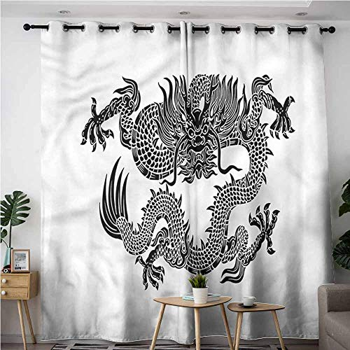 AndyTours Home Curtains,Japanese Dragon Symbolic Figure,Blackout Window Curtain 2 Panel,W96x72L -