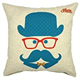YOUR SMILE Hipster Square Decorative Throw Pillows Case Cushion Covers Shell Cotton Linen Blend 18 X 18 Inches (Blue)