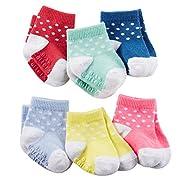 Carter's Baby-Girls Newborn Mary Jane Socks, Multi, 3-12 Months (Pack of 6)