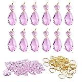 split rings for chandeliers - BIHRTC 12Pcs 38mm Galss Crystal Teardrop Chandelier Prisms Parts Hanging Galss Crystal Pendants Beads +50pcs Metal Split Ring + 50pcs 14mm Octagonal Beads (Pink)