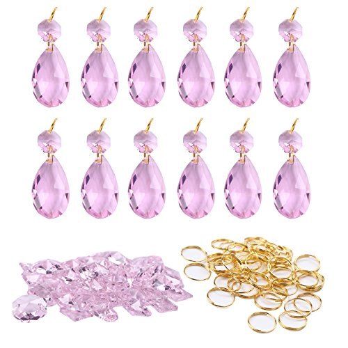 lss Crystal Teardrop Chandelier Prisms Parts Hanging Galss Crystal Pendants Beads +50pcs Metal Split Ring + 50pcs 14mm Octagonal Beads (Pink) (Pink Teardrop Beads)