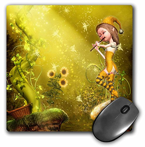 Little Flute (Little cute elf playing the flute. The butterflies dance to the song - Mouse Pad, 8 by 8 inches (mp_181725_1))