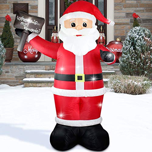 8 FT Christmas Xmas Inflatable Santa Claus Placard Lighted Blow-Up Airblown Inflatable Yard Party Decoration