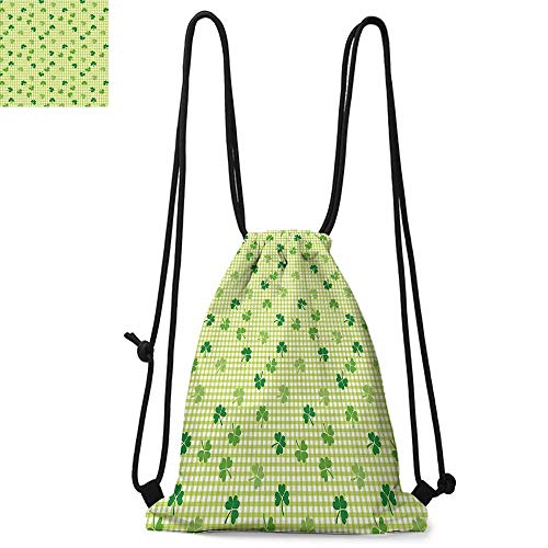 Irish Drawstring backpack series Retro Classical Checkered Pattern Decorated with Cute Green Shamrocks Garden Plants Convenient choice for daily activities W13.4 x L8.3 Inch Multicolor