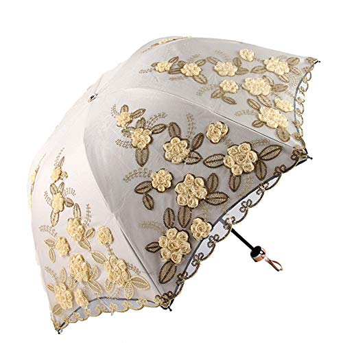 (Honeystore UV Resistance Umbrella Flower Embroidered Sun Protection Lace Parasol A1914 Yellow)