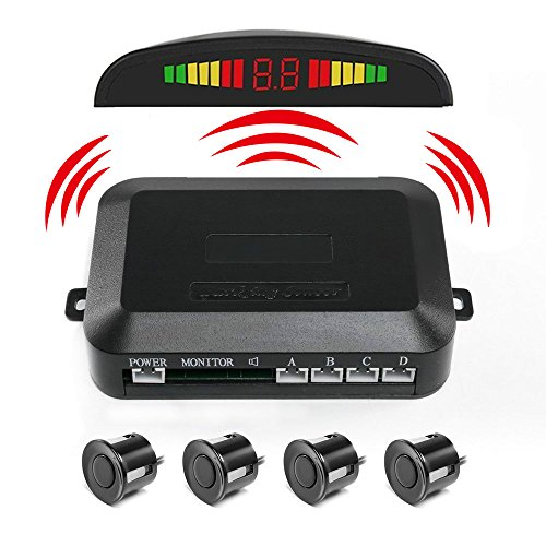 PEMENOL Wireless Car Reverse Backup Radar System 4 Parking Sensors with LED Display High Volume Warning Buzzer Controller Box (Back Up Reverse Sensors)