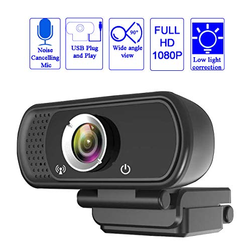 Lasllaves Full HD Webcam 1080P,Webcam with Microphone USB 2.0 Plug and Play, Desktop Laptop Computere Web Camera,90-Degree Wide Angle External Live Streaming Cameras for Video Conference,Calling