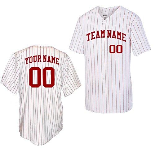OnTheField Custom Pinstripe Baseball Jersey (X-Large, Red)