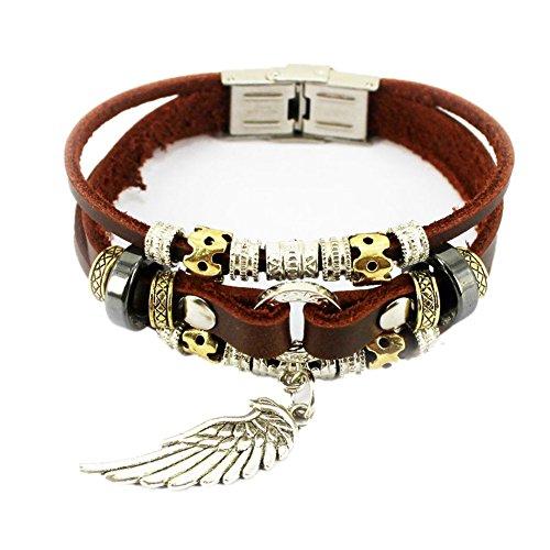 MULBA Vintage cuir de haute qualité Ailes Pendentif Bracelet pour Hommes SL 3393 (Ailes Pendentif)