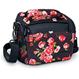 Bridge Camera Bag Floral w/Protective Neoprene Material, Rain Cover and Adjustable Dividers by USA Gear - Works W/Nikon Coolpix B500/Canon PowerShot SX60, SX530/Panasonic Lumix FZ80 & More