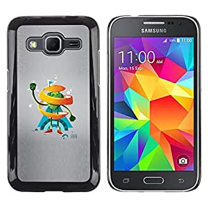 Caucho caso de Shell duro de la cubierta de accesorios de protección BY RAYDREAMMM - Samsung Galaxy Core Prime - Naranja del remolino de Hombre