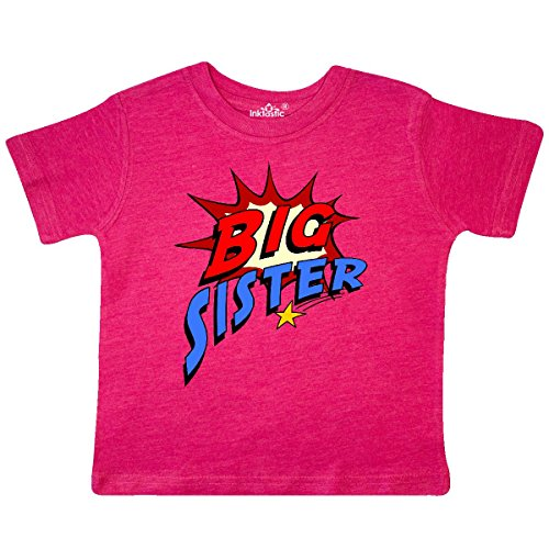 inktastic - Big Sister Superhero Toddler T-Shirt 2T Retro Heather Pink