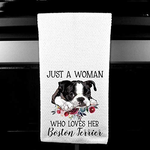 (Just a Woman who Loves Her Boston Terrier Microfiber Kitchen Towel Gift for Animal Dog Lover)