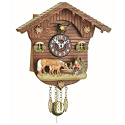 Trenkle Kuckulino Black Forest Clock Swiss House with Quartz Movement and Cuckoo Chime